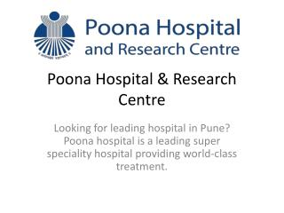 Leading hospital in pune - Poona Hospital