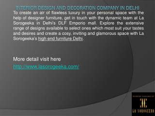 Interior Design and Decoration Company in Delhi