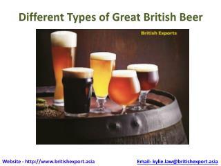 Different types og great british beer