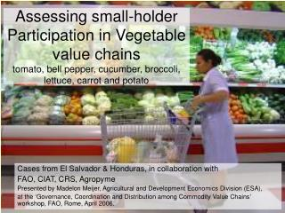 Assessing small-holder Participation in Vegetable value chains tomato, bell pepper, cucumber, broccoli, lettuce, carrot