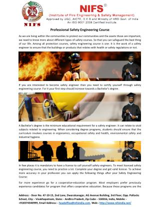 Professional Safety Engineering Course