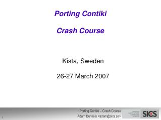 Porting Contiki Crash Course