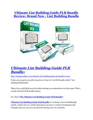 Ultimate List Building Guide PLR Bundle Review & (Secret) $22,300 bonus