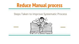 This is a right time to reduce Manual process and improving systematic process