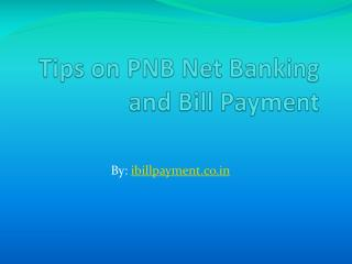 Tips or Guidelines on PNB net banking and Bill Payment