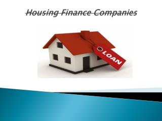 Housing Finance With Their Different Programs