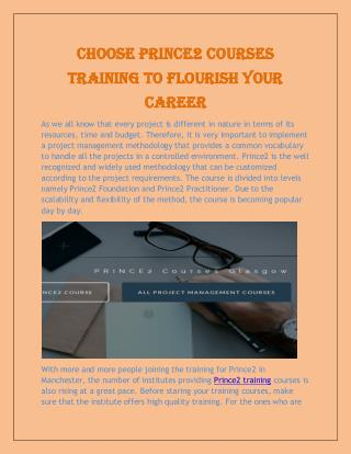 Choose Prince2 Courses Training to Flourish Your Career