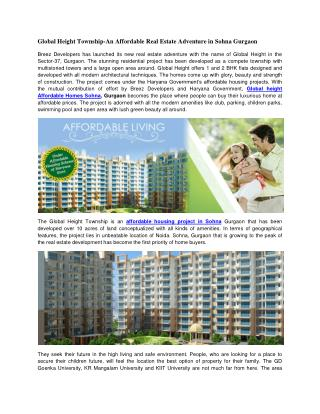 Global Heights Sohna Gurgaon @ 9250933999