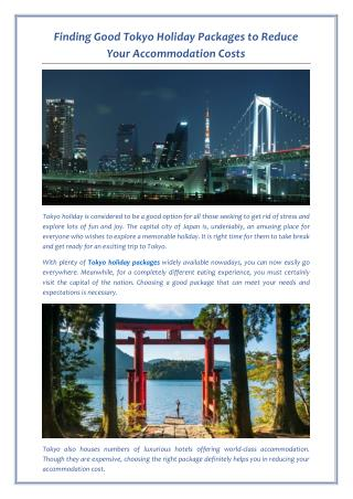 Finding Good Tokyo Holiday Packages to Reduce Your Accommodation Costs
