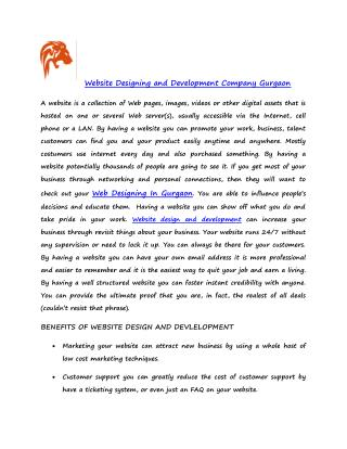 Website designing and development company gurgaon