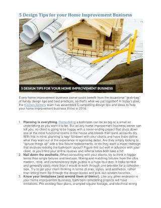 5 Design Tips for your Home Improvement Business
