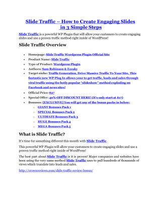 Slide Traffic review - (FREE) Jaw-drop bonuses