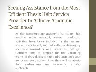 Get Thesis Help Online Services with Thesis Topics by UK Experts