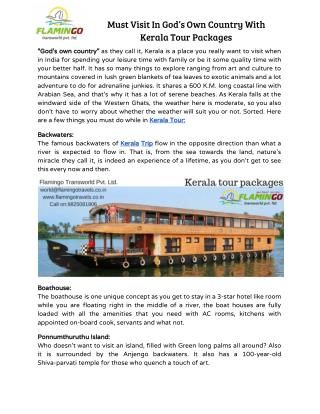 Must Visit In God's Own Country With Kerala Tour Packages