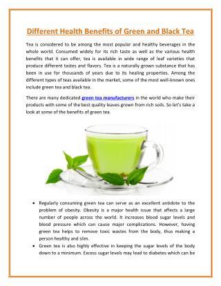 A Health Benefits of Green and Black Tea