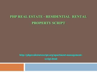 PHP REAL ESTATE - Residential  Rental Property script