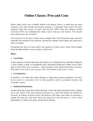 Online Classes: Pros and Cons