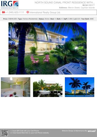 North Sound Canal Front Residence With Dock - Cayman Residential Property