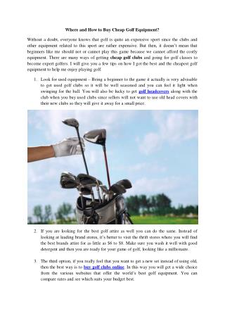 Where and How to Buy Cheap Golf Equipment?