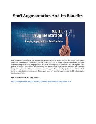 Staff Augmentation And Its Benefits