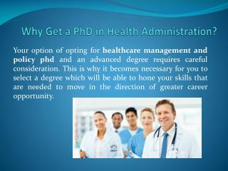 Why Get a PhD in Health Administration?