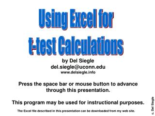 Using Excel for t-test Calculations