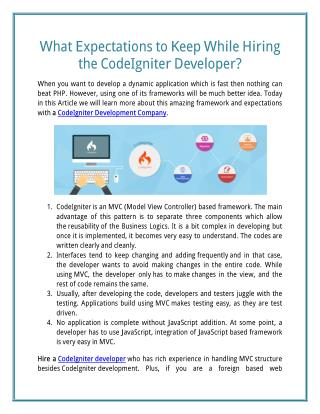 What Expectations to Keep While Hiring the Codeigniter Development Company?