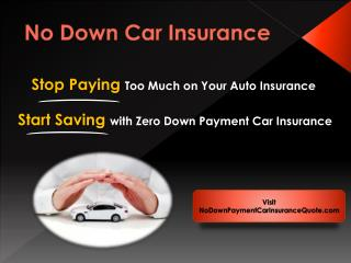 Cheap No Down Payment Auto Insurance