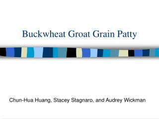 Buckwheat Groat Grain Patty