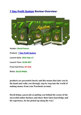 7 Day Profit System Review