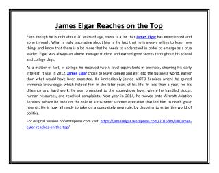 James Elgar Reaches on the Top