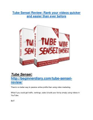 Tube Sensei review and $26,900 bonus - AWESOME!