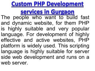 Custom PHP Development services in Gurgaon