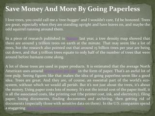 Save Money And More By Going Paperless