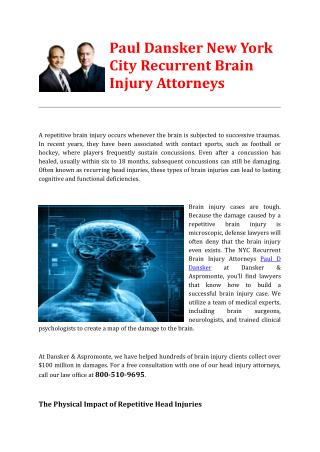 Paul Dansker New York City Recurrent Brain Injury Attorneys