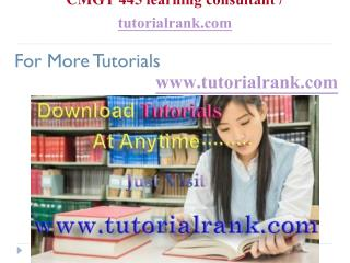 CMGT 445 learning consultant  tutorialrank.com