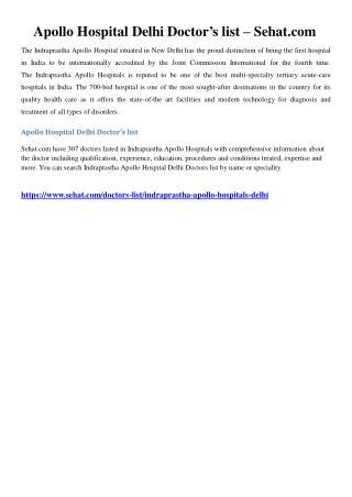 Apollo Hospital Delhi Doctor's list – Sehat