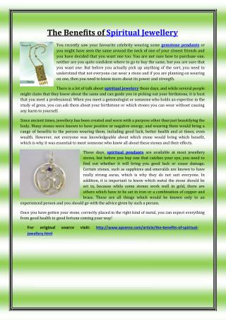 The Benefits of Spiritual Jewelry