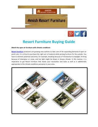 Resort Furniture Buying Guide