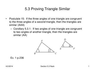 5.3 Proving Triangle Similar