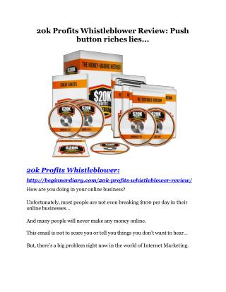 $20k Profits Whistleblower review and (Free) $21,400 Bonus & Discount