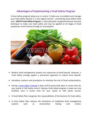 Advantages of Implementing a Food Safety Program