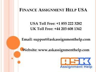 Finance Assignment Help USA, Finance Homework Help USA