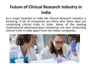 Future of Clinical Research Industry in India