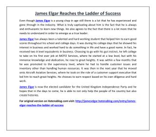 James Elgar Reaches the Ladder of Success