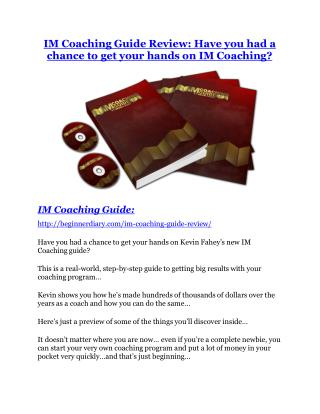 The IM Coaching Guide review - A top notch weapon