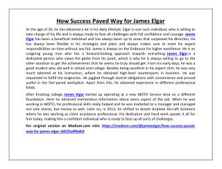 How success paved way for james elgar