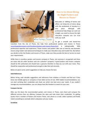 How to Go About Hiring the Right Packers and Movers in Thane?