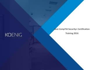 Best CompTIA Security Certification Training 2016
