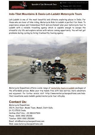 Indo-Tibet Mountains & Oasis-Leh-Ladakh Motorcycle Tours